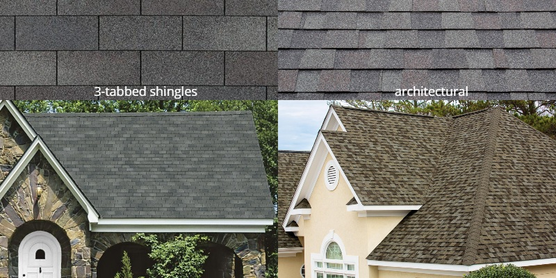 3-tabbed shingles vs architectural