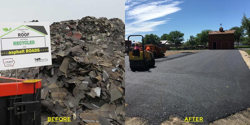 recycled asphalt shingles driveway